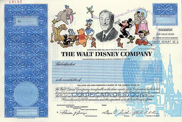 disney share certificate