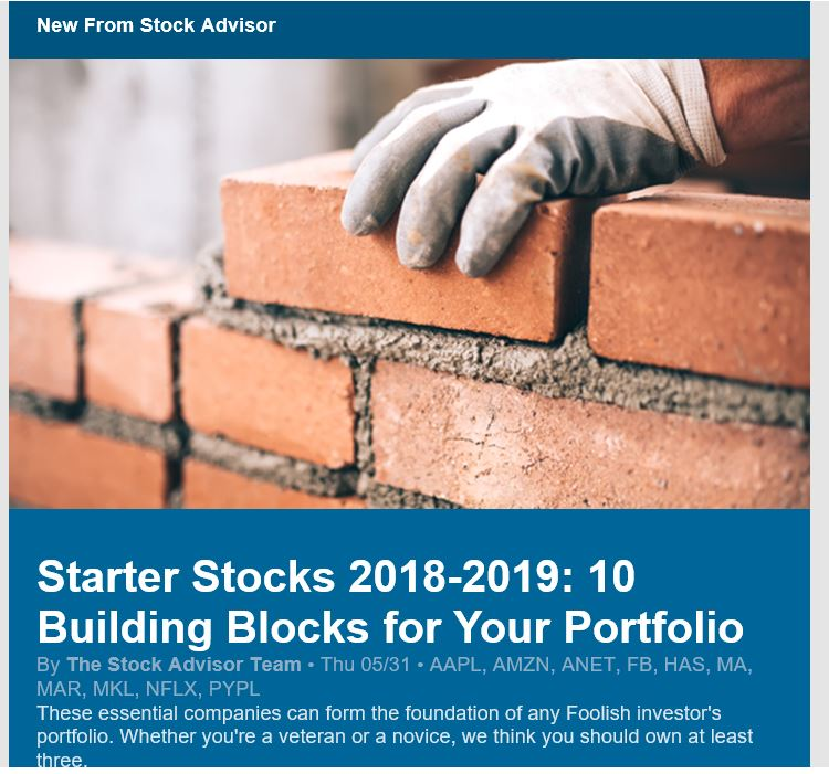 Motley Fool Stock Advisor Sample Email