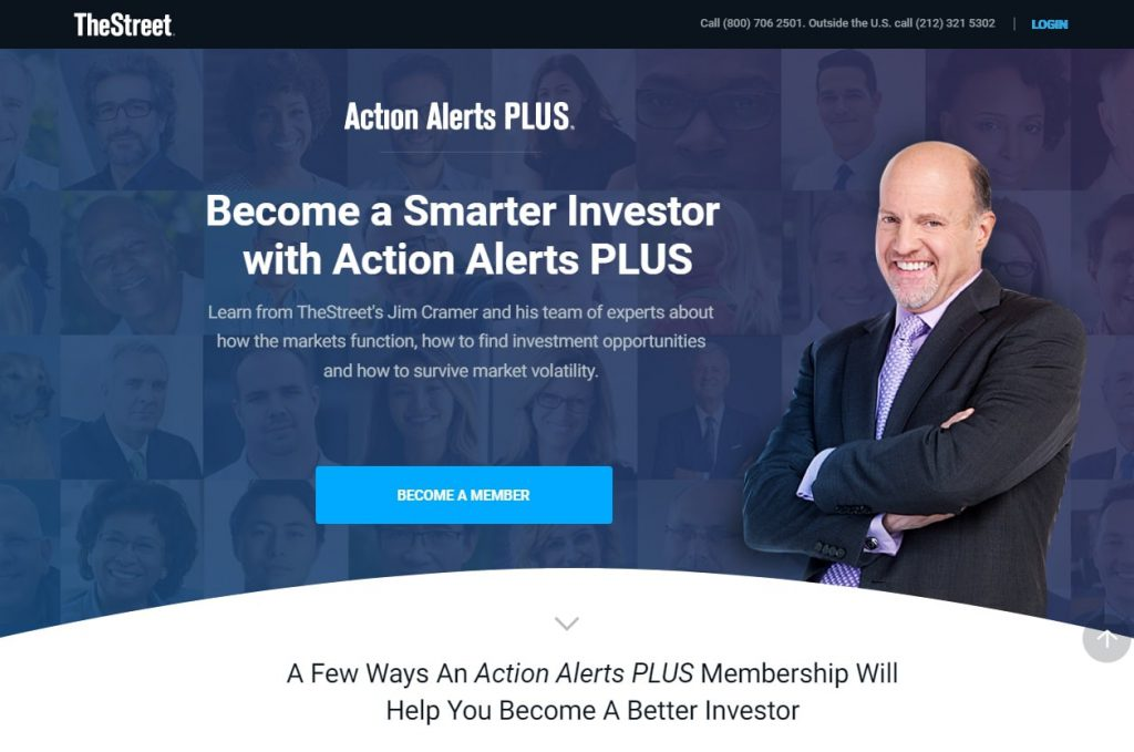 Jim Cramer Action Alerts Plus tool website page