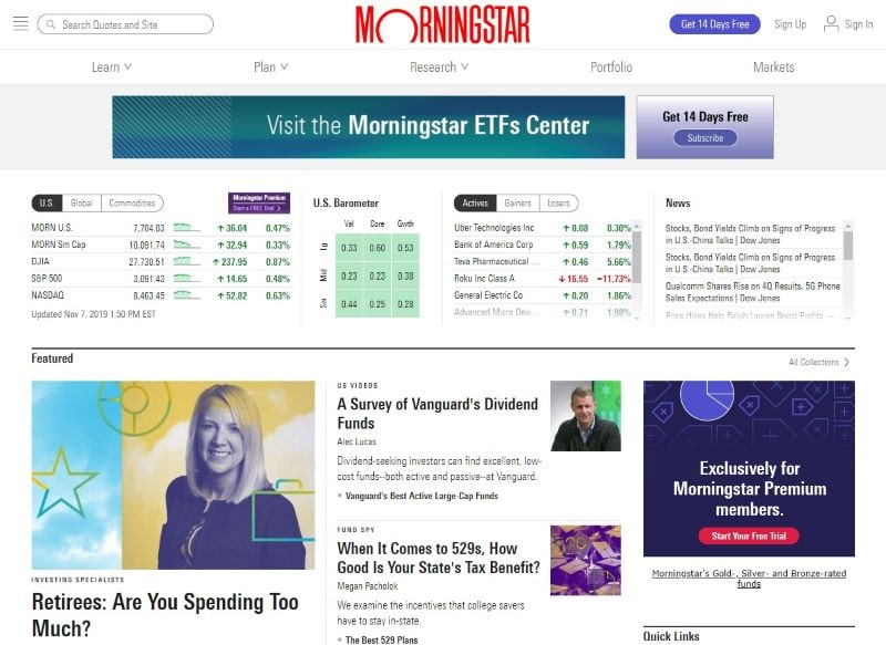 MorningStar website home page