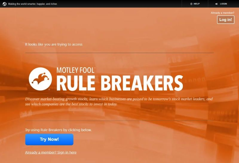 Motley Fool Rule Breakers Tool website landing page
